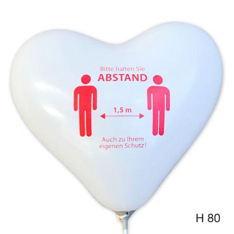 """weiße herzluftballons mit dem Aufdruck """"Bitte Abstand halten"""""""