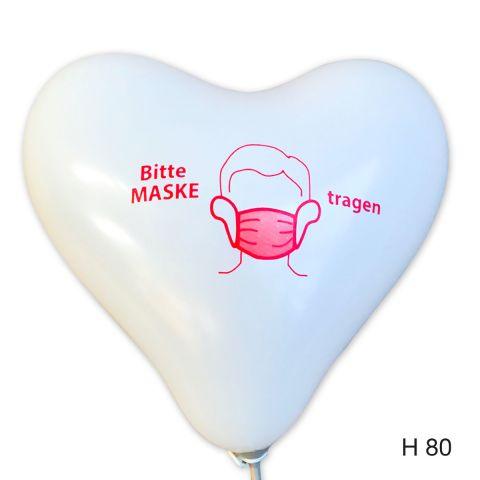 """weiße herzballons mit rotem Aufdruck """"Bitte Maske tragen"""""""