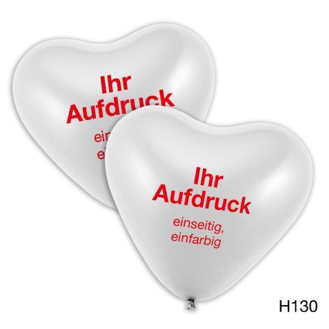 weiße, große Herzballons mit individuellem Logo oder Schriftzug einfarbig zu bedrucken.