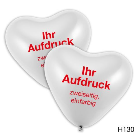 weiße Herzballons mit zweiseitigem, einfarbigem Druck in rot mit individuellem Logo möglich.