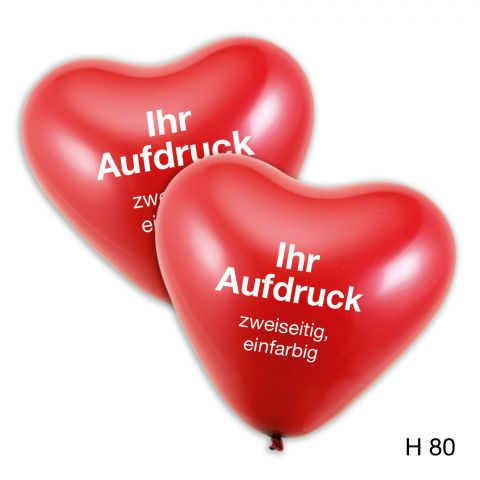rote Herzballons und Hinweis für individuellen zweiseitigen,einfarbigen Aufdruck
