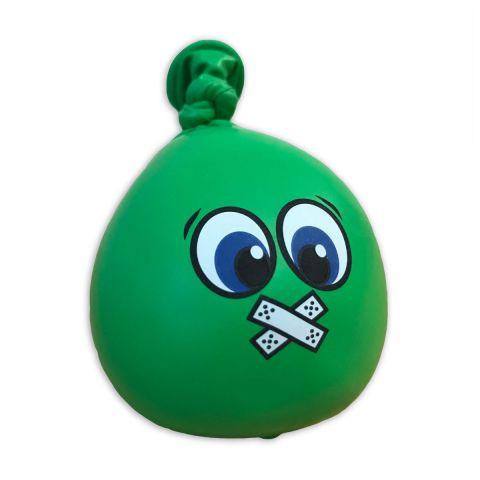 """Grüner Anti-Stress-Ball mit Gesicht """"Pflaster über Mund"""" und großen Augen."""