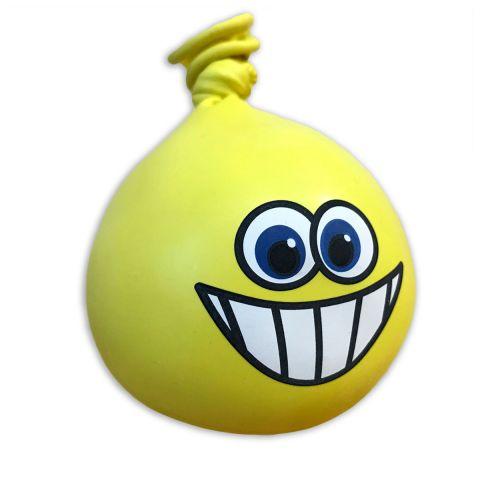 Gelber Anti-Stress-Ball, Kneti, aus Luftballon, mit lachendem Geicht