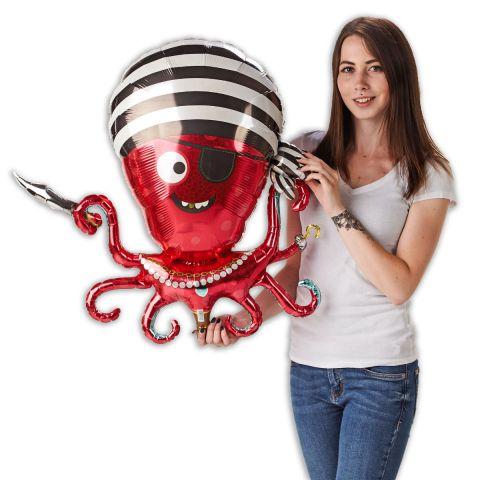 """Folienballon """"Piraten-Krake"""" in rot mit schwar-weiß gestreiftem Kopftuch und Augenklappe. Person hält die Krake."""