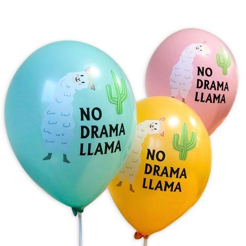 """Türkise, ockerfarbene und rosa Ballons mit dem Aufdruck """"No Drama Llama"""" mit grünem Kaktus und weißem Lama."""