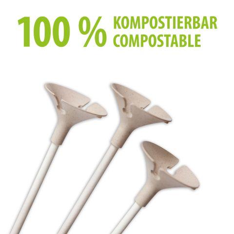 Öko-Ballonhaltestäbe aus Papier, 100% kompostierbar. Sehen aus, wie normale Haltestäbe aus Kunststoff.