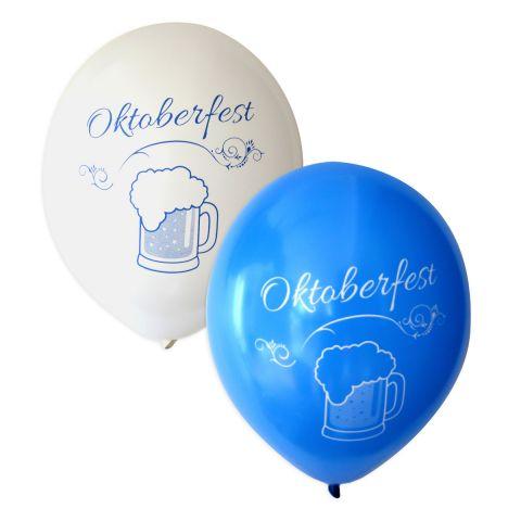 weiße Ballons mit blauem Aufdruck und blaue Ballons mit weißem Aufdruck. Motiv: Schriftzug Oktoberfest und Humpen