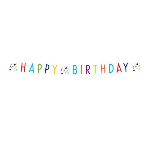 """Papiergirlande """"Happy-Birthday"""" in bunt mit Konfettiwimpeln, komplett sichtbar"""
