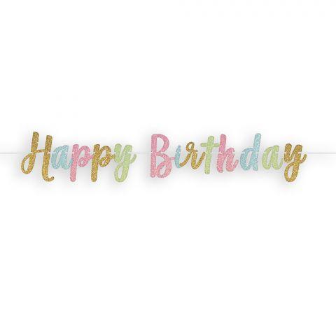 """Partykette aus Papier in Glitzeroptik, Schriftzug """"Happy-Birthday"""" zum Aufhängen, Pastellfarben und gold"""