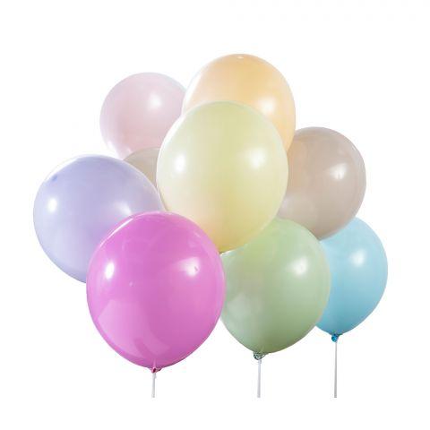 Luftballons in Pastellfarben, bunt gemischt.