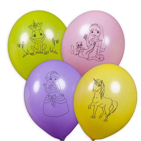 Bunte Ballons mit schwarzen aufgedruckten Motiven zum Thema Prinzessin. Motiv: Froschkönig, Prinzessin mit Katze, Prinzessin, Einhorn.