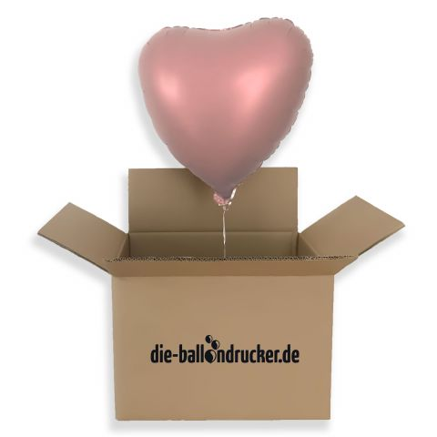 Heliumgefülltes Herz in Rose, rosé copper kommt aus Karton