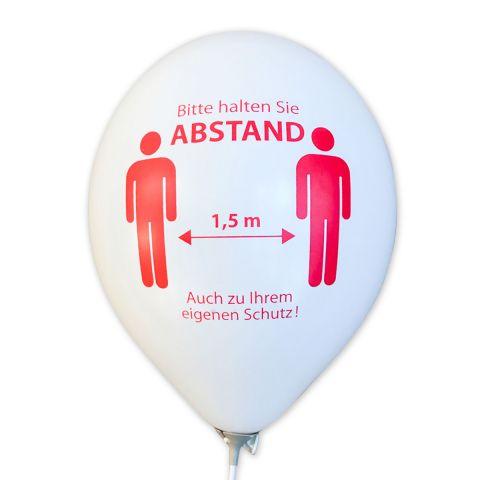 """Dekoset: """"BITTE ABSTAND HALTEN"""", weiße Luftballons mit Öko-Ballonhaltestab"""