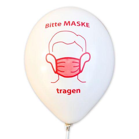 """Dekoset: """"BITTE MASKE TRAGEN"""", weiße Luftballons mit Öko-Ballonhaltestab"""