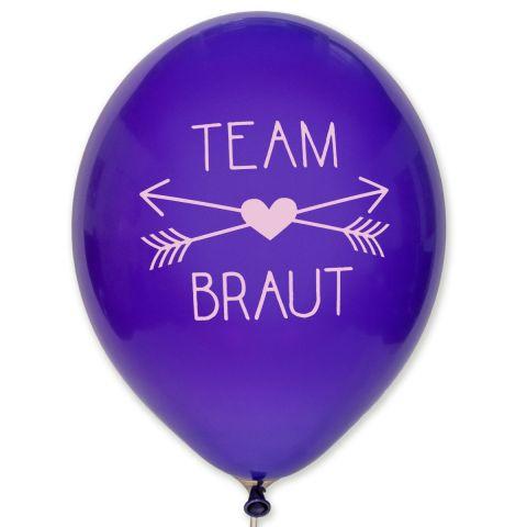 """Luftballons """"Team Braut"""" – lila Ballons mit rosa Aufdruck (10 Stück)"""
