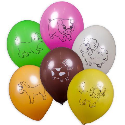 Bunte Luftballons mit schwarzen unterschiedlichen aufgedruckten Tiermotiven: Hund, Schweinchen, Schaf, Kuh, Pony, Katze.