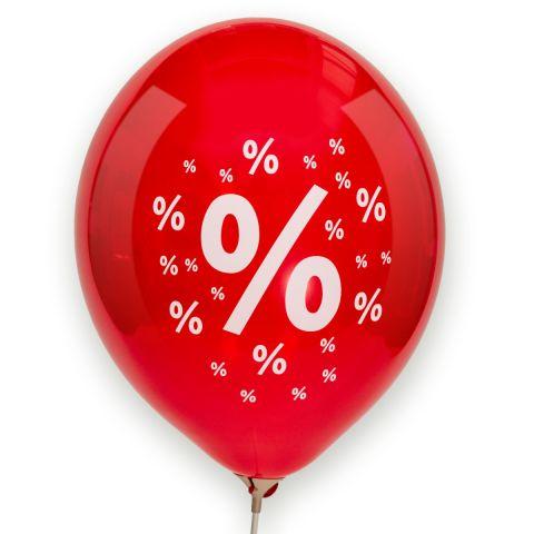 Roter Luftballon mit 1 großen und vielen kleinen Prozentzeichen drumherum.