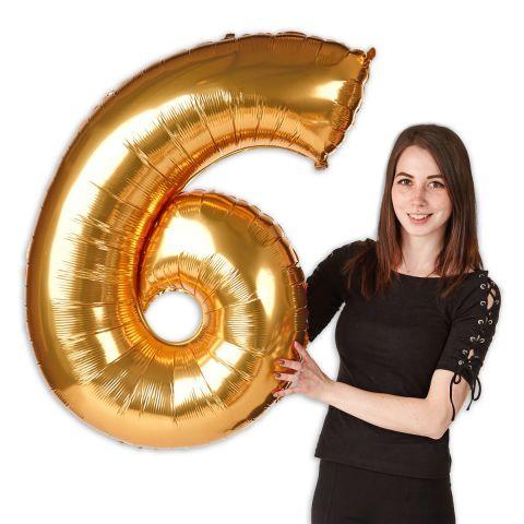 """Folienballon Zahl """"6"""" Gold, Größe 101 cm"""