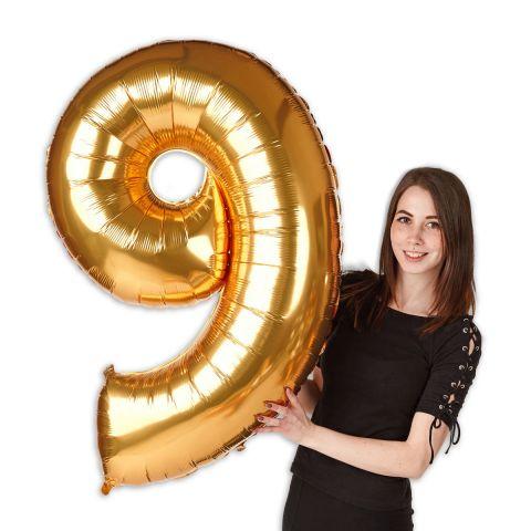 """Folienballon Zahl """"9"""" Gold, Größe 101 cm"""